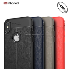 For iPhone X Hot selling Back Cover Soft Case Lychee Stripe Brushed Carbon Fiber Leather TPU Case for iPhone X