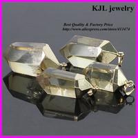 KJL-A094 natural crystal yellow quartz stone pendant,agate semi-precious drusy stone charm in jewelry