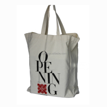 Handle promotional plain white cotton tote bag with custom logo cotton fabric bag
