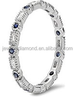 14K Gold Blue Sapphire & White Diamond Ladies Vintage Wedding Eternity Stackable Ring