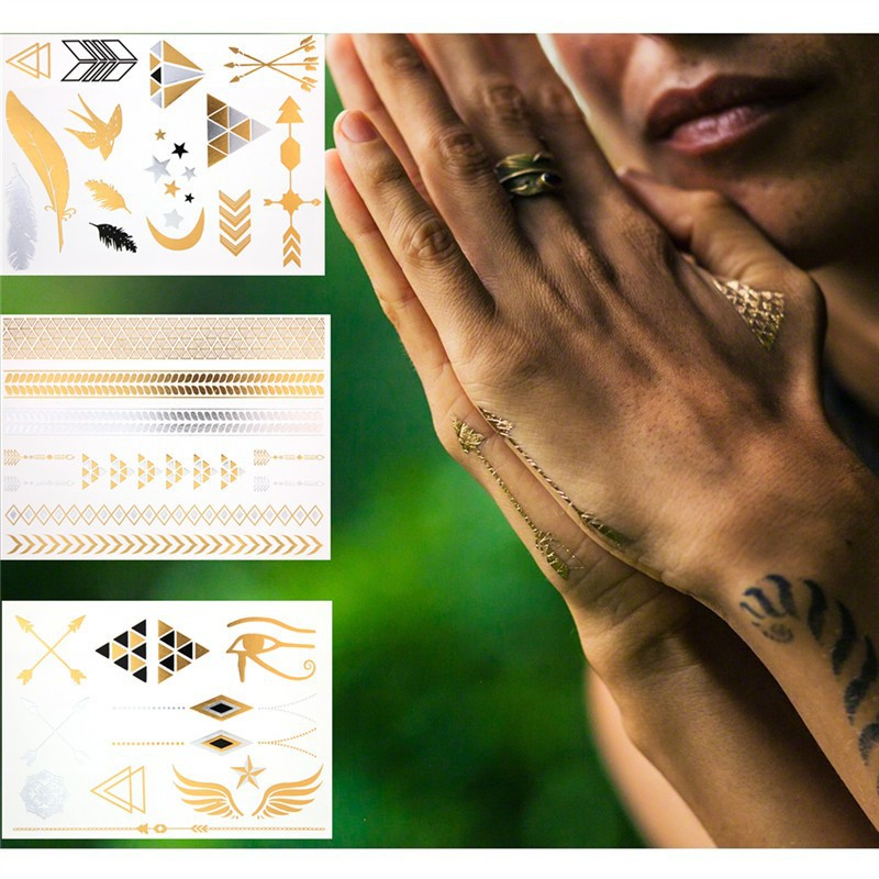 factory wholesale Fashionable custom body gold silver foil flash metallic flasn tattoo