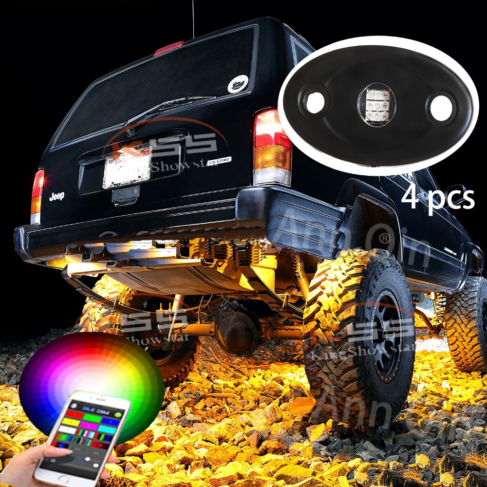 4 Pods Led Rock Light RGB Color Changeable App phone Bluetooth Control Music Flash Offroad led rock light
