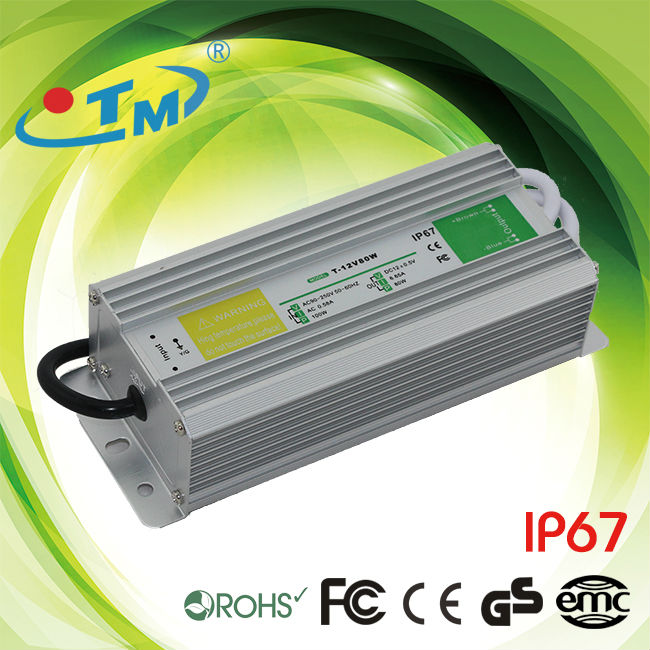 IP67 Constant Voltage 24V 3 amp 80W LED Power Supplies For Outdoor Use, UL Certification