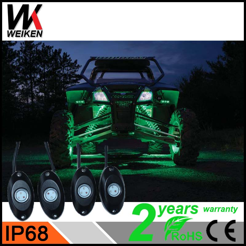 WEIKEN Wholesale 8 pod led rock lights under car five colors remote control bluetooth auto decorated led lights