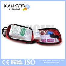 Hot selling KF20 Red Nylon Small Size portable bag emergency supply first aid kit outdoor medical first aid bag