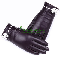Women fashion dress leather gloves made with hair sheep skin, bow knot and strip in contrast color decorated