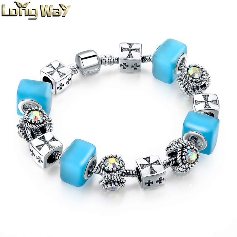 Charm Cross Beads Bracelet Blue Glass Beaded Bracelet For Women