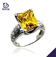 Yellow topaz silver black diamond rings jewellery