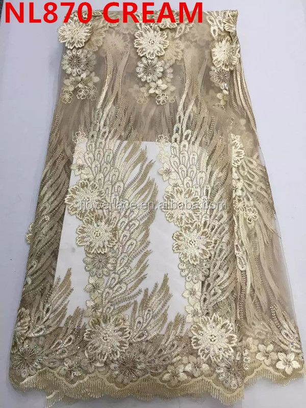 2016 fashion cream color lace fabric NL870-2 african tulle high quality/wholesale french lace