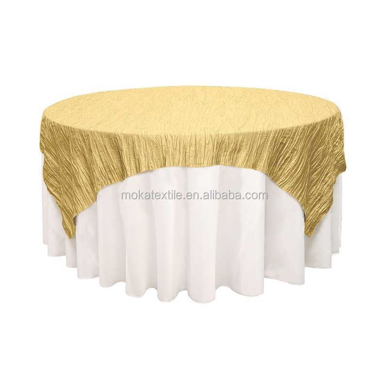 Gold Taffeta Table Overlay For Hotel