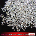 round Shape SS3-SS20 mix size Nail Art glass stone for Women Girls