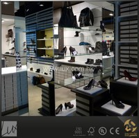 shoe wall display for wood shoes shop decoration design