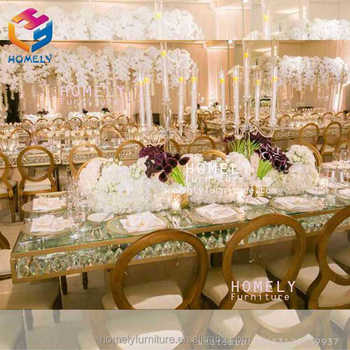 party event wedding dining gold metal rectangle black tempered glass top crystal stainless steel table and chairs