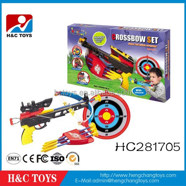 Hot selling mini crossbow set toy outdoor playing set target shooting toys for kids HC281705