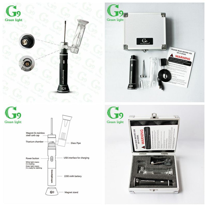 G9 Dab tool build-in nail enail with padded carry case Henail glass rigs designs