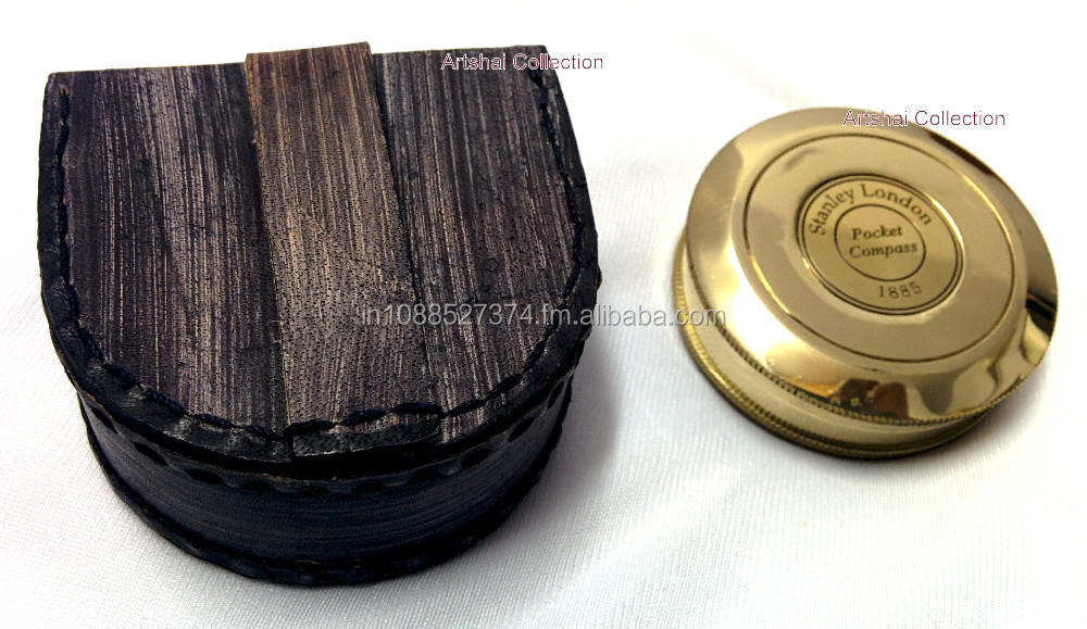 Artshai Robert Frost magnetic compass with leather case