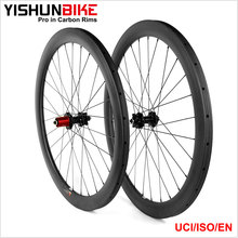 2017 YISHUNBIKE 700c Road Highly Recommended 33mm Tubular Disc Brake Toray Carbon Fiber Bicycle 1279g Light Wheel Sale DB330T