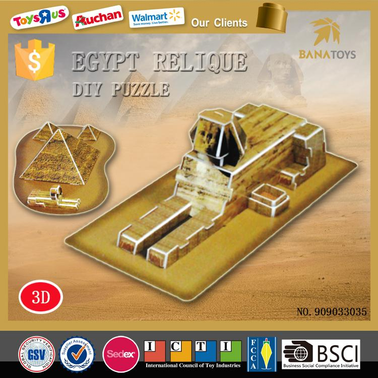 Handmade 3d puzzle diy toys Egypt reliques iq pyramid puzzle