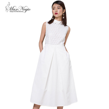 Hot Selling 2018 New Summer Elegant Dress Women Shirt Collar Sleeveless White Long Dress Guangzhou Women Clothing Factory