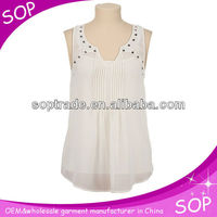 Latest summer embroiders blouse neck design tops