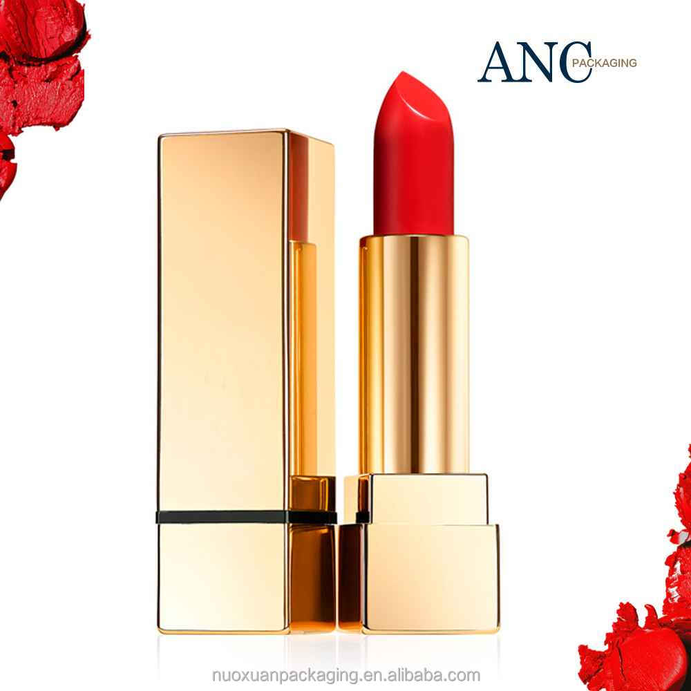 ANC slim gold grain luxury privated label empty liquid lipstick container packaging