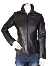 lady leather fashion jacket washable design for biker lady spring wear, lady leather jacket