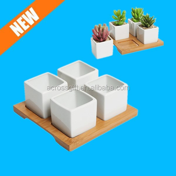 4 Piece Modern White Mini Square Cube Ceramic Succulent Planters / Flower Pots w/ Bamboo Tray