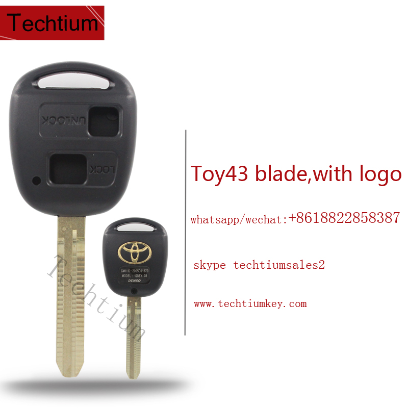 High quality car keys for Toyota yaris corolla 2 button remote key blank fob for toyota key cover wholesale with Toy43blade logo