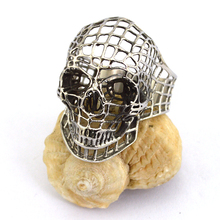 Silvery Cute and Cool Hollowed-out Stainless Steel Skull Rings r003659