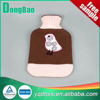 nice pink natural rubber hot water bag with cute sleeping owl knitted cover