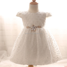 Newborn 6-24 month Birthday Dress Baby Kids Clothing Lace Christening Gown Beads Decoration Events Party Dress