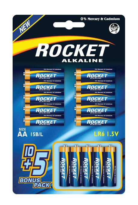 LR6, AA size,10+5 Blister packing, Alkaline
