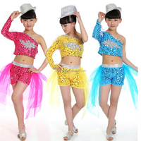 Sequined morden dancewear for kids girls Hip hop Jazz dance clothing stage dance show top short