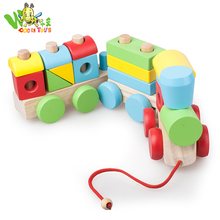 2018 Creative funny children toy wholesale wooden three train toy with kids