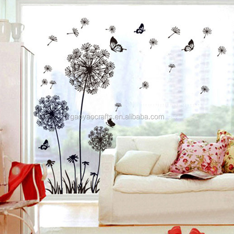 Black Dandelion U003cstrongu003eButterflysu003c/strongu003e Wall Sticker Art Decal U003cstrong
