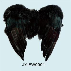 Heart- Shaped Black Feather Wings for Halloween