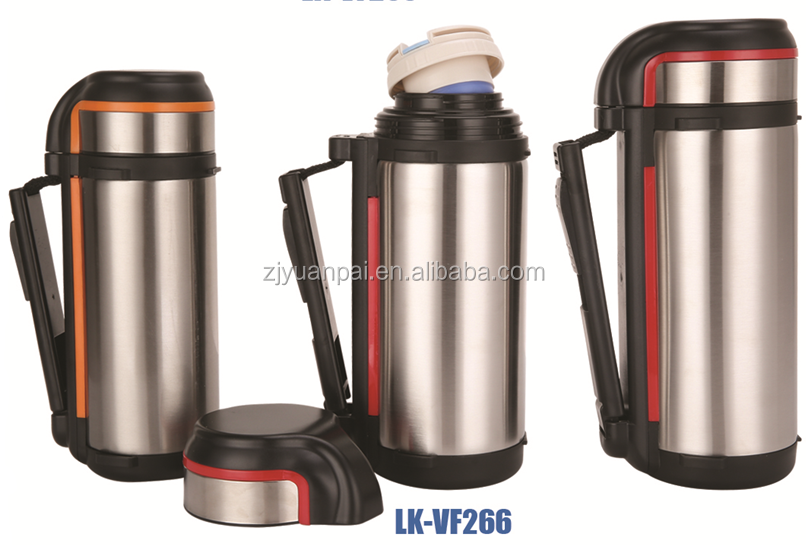 1.5L large outdoor stainless steel water bottles vacuum flask with silicone handle