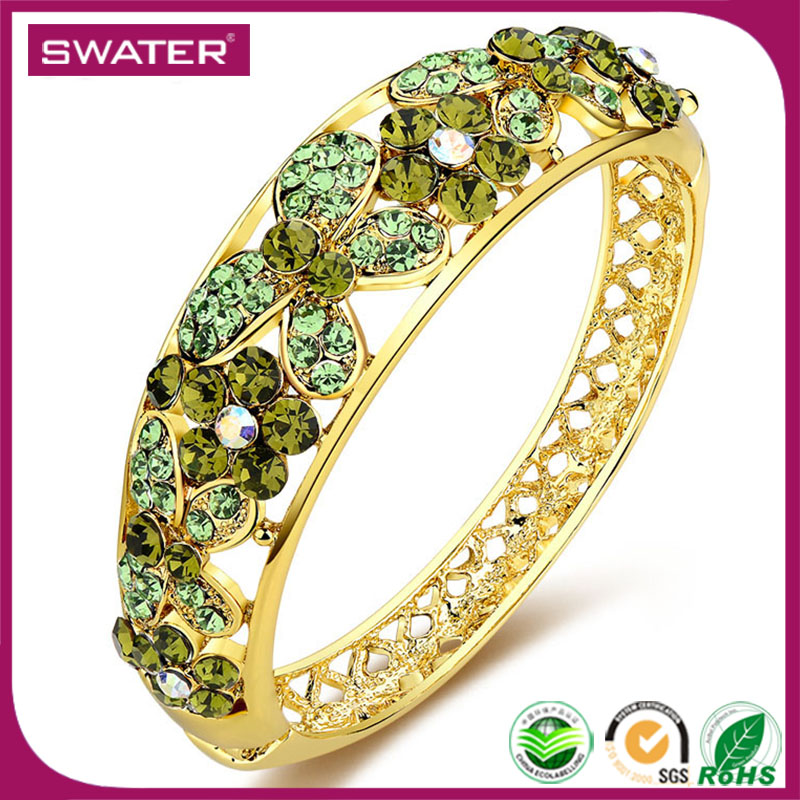 2017 New Product Colorful Zircon Wide Big Women Gold Wholesale Indian Glass Bangles