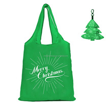 Holiday Giveaways Polyester Reusable Christmas foldable gift bag with zipper Stan tree pouch