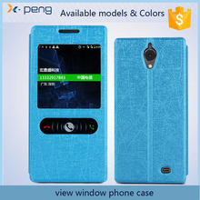 Two hot sale view window Leather wallet phone case flip cover for zte nubia z9 mini