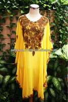 Superb Fancy Moroccan Yellow Chiffon Unique Paisley Patern Embroidery Tunic Dress For Women's 2016