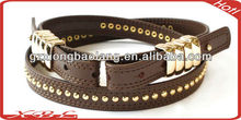 2016 cool double ring buckle design genuine leather waist belts with rivets for lady