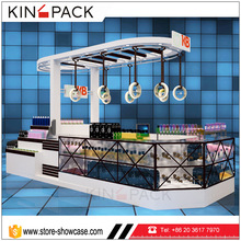 New arrival wood with tempered glass customized makeup display case cosmetic retail display units