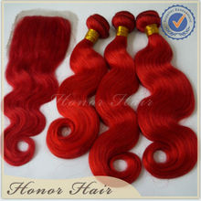 100 human hair peruvian hair extension weft red body wave lace closure