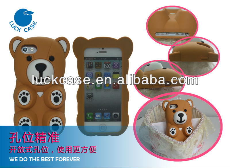 "Cute bear silicon case for iphone 5,for iphone 5"" case"