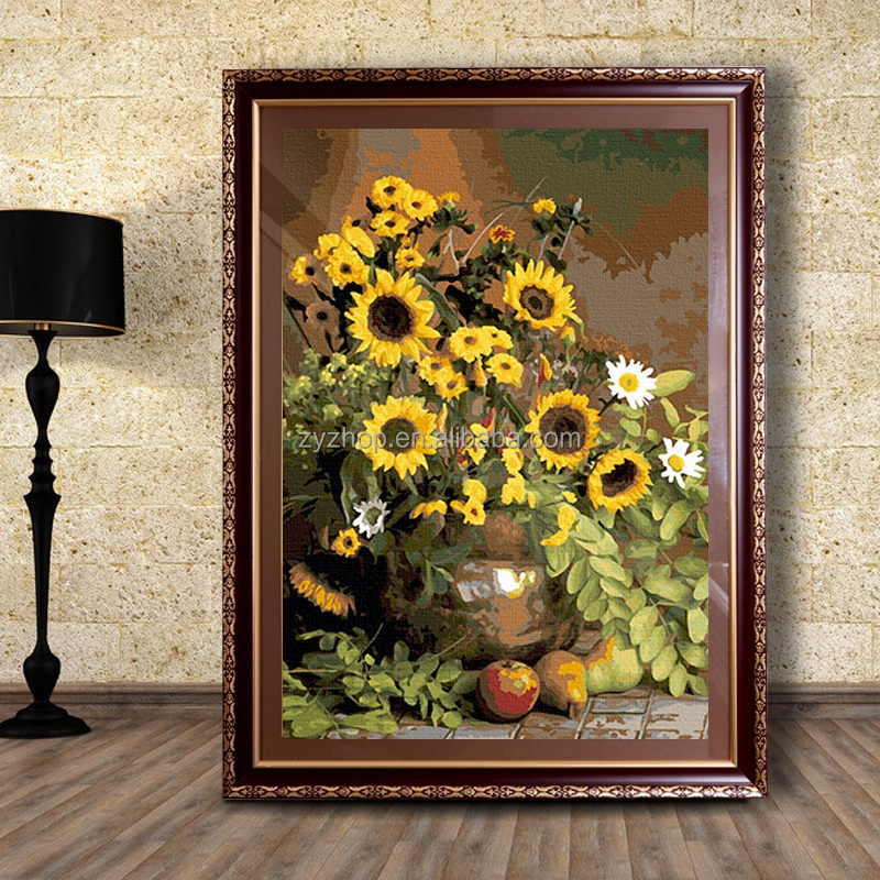 Frameless canvas flower oil painting <strong>picture</strong> by numbers for living room decor