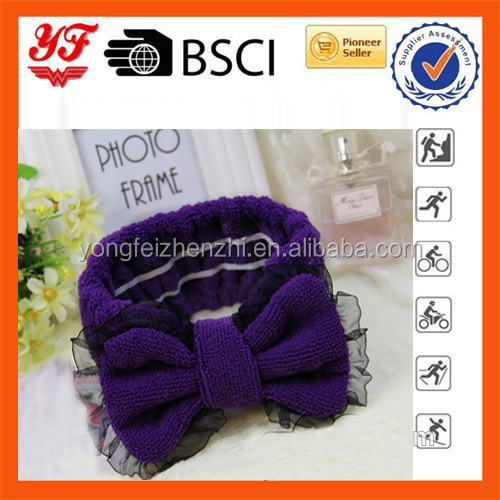 Women Girl Fabric microfiber hair accessories Bow tie headband for party or gift