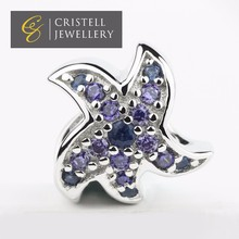 Custom made engraved cz micro pave crystal starfish 925 sterling silver slider european charms beads jewelry for woman