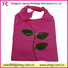 Nylon Pink Flowers Foldable Tote Bags Shopping Bags