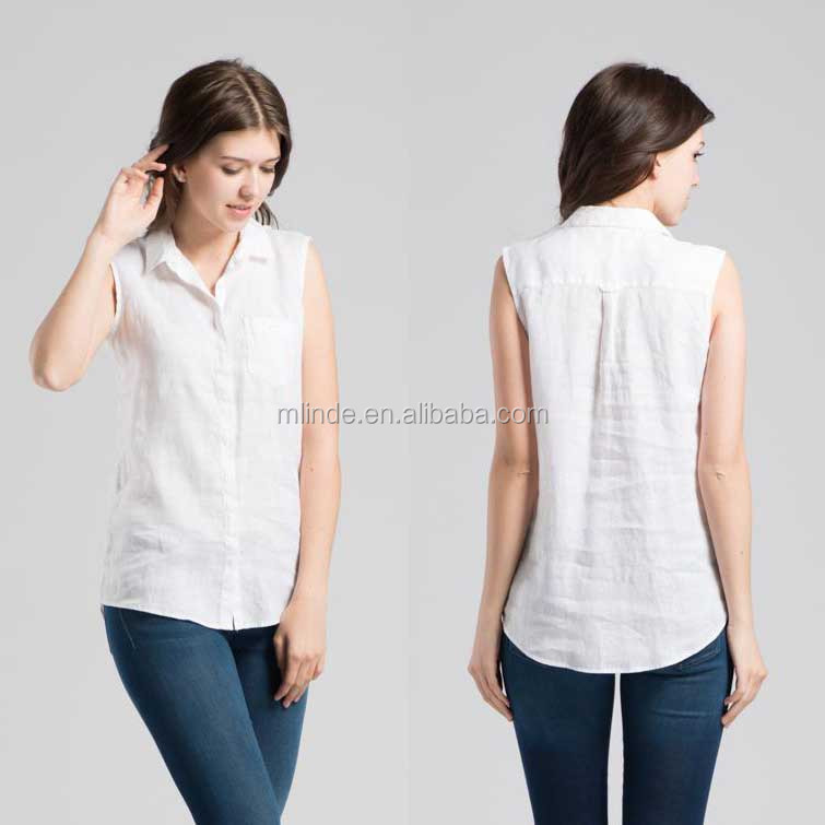 White Pure Flax Texture Short-sleeved Shirt Pure Linen Shirt Tops Blouses Sleeveless Summer Korean Style Shirts for Lady Office